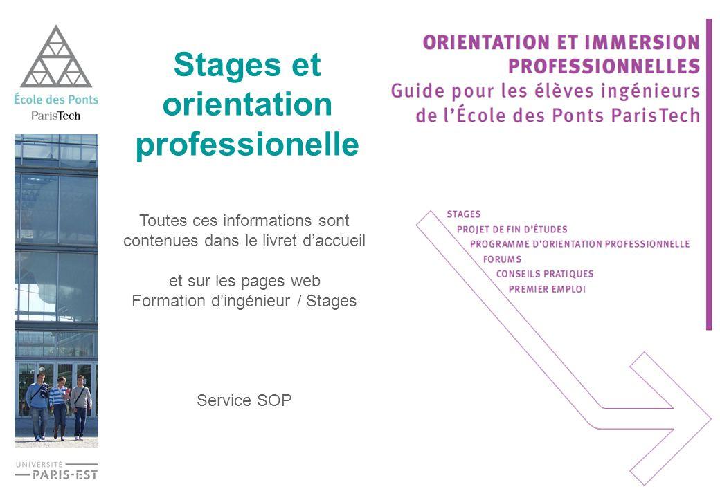 Stages et orientation professionelle Toutes ces informations sont contenues dans le livret daccueil et sur les pages web Formation dingénieur / Stages Service SOP