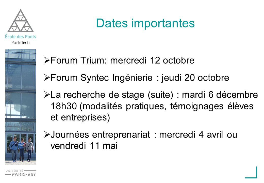 Dates importantes Forum Trium: mercredi 12 octobre Forum Syntec Ingénierie : jeudi 20 octobre La recherche de stage (suite) : mardi 6 décembre 18h30 (modalités pratiques, témoignages élèves et entreprises) Journées entreprenariat : mercredi 4 avril ou vendredi 11 mai