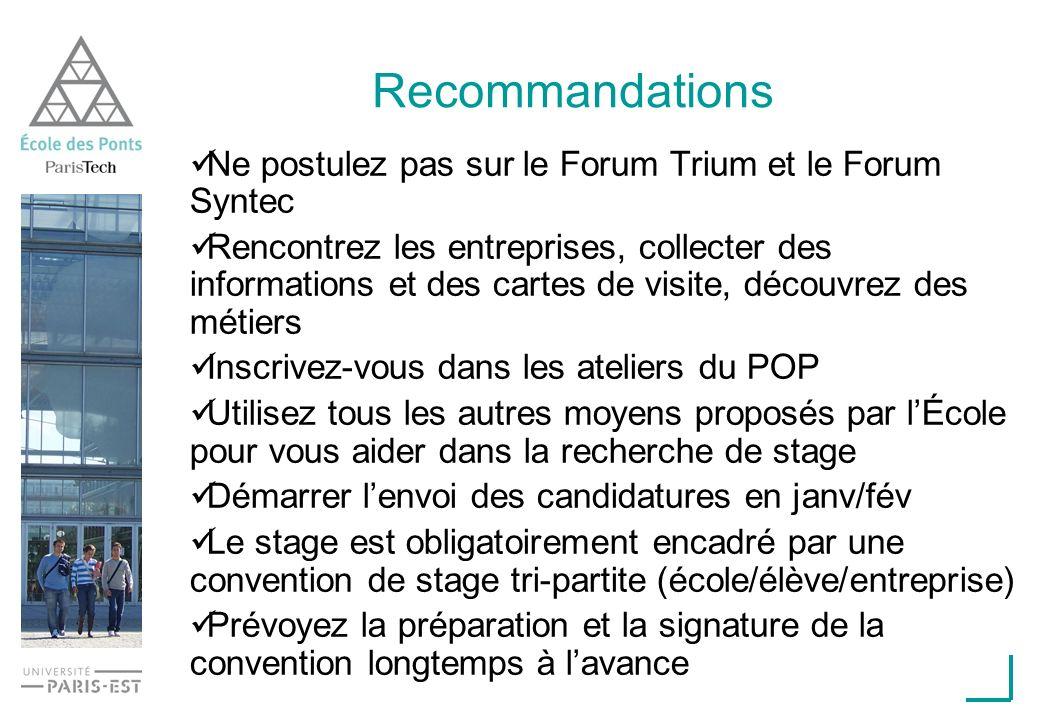 Recommandations Ne postulez pas sur le Forum Trium et le Forum Syntec Rencontrez les entreprises, collecter des informations et des cartes de visite,