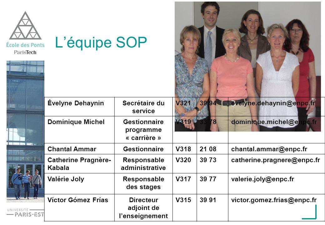 Léquipe SOP Évelyne DehayninSecrétaire du service V32139 94evelyne.dehaynin@enpc.fr Dominique MichelGestionnaire programme « carrière » V31933 78domin