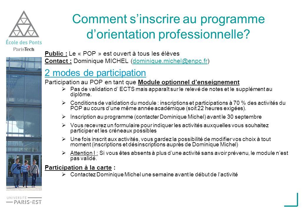 Comment sinscrire au programme dorientation professionnelle? Public : Le « POP » est ouvert à tous les élèves Contact : Dominique MICHEL (dominique.mi