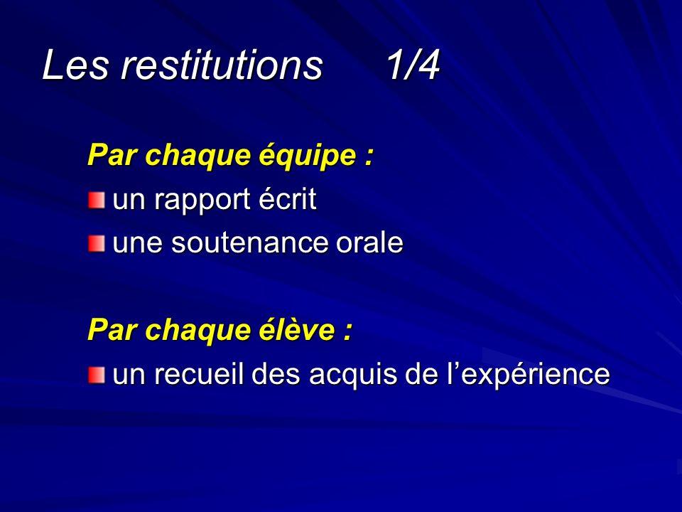 Les restitutions2/4 On respecte les normes en usage dans le contexte du projet.