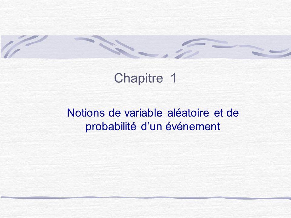 Chapitre 1 Notions de variable aléatoire et de probabilité dun événement