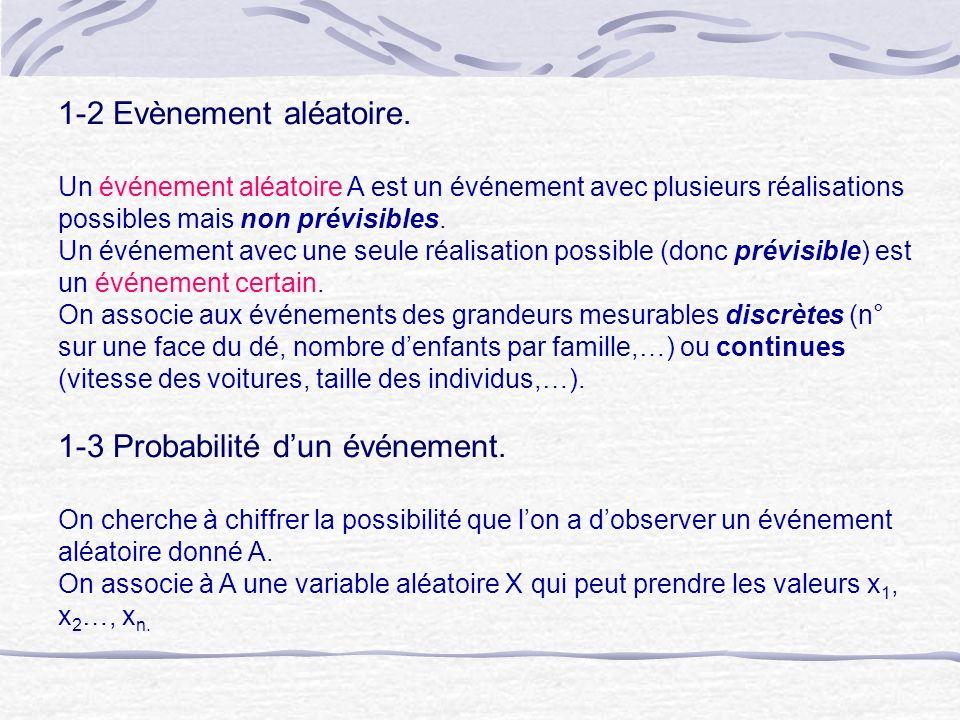 1-2 Evènement aléatoire. Un événement aléatoire A est un événement avec plusieurs réalisations possibles mais non prévisibles. Un événement avec une s