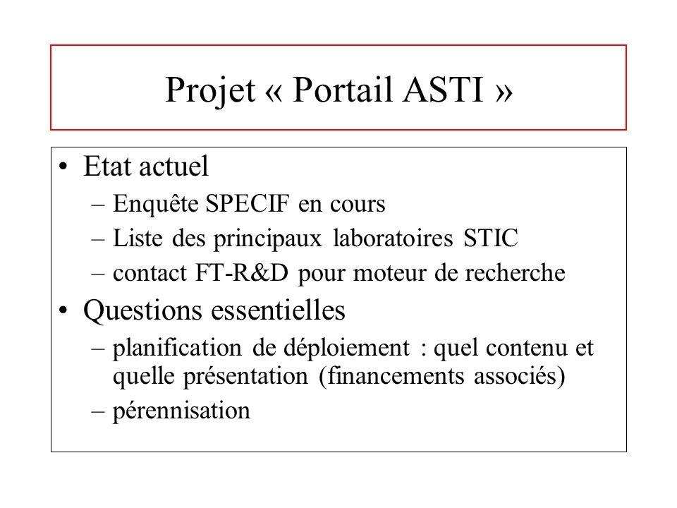 Projet « Portail ASTI » Etat actuel –Enquête SPECIF en cours –Liste des principaux laboratoires STIC –contact FT-R&D pour moteur de recherche Questions essentielles –planification de déploiement : quel contenu et quelle présentation (financements associés) –pérennisation