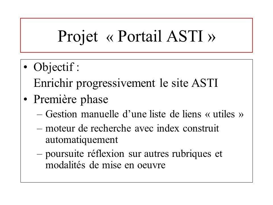 Projet « Portail ASTI » Objectif : Enrichir progressivement le site ASTI Première phase –Gestion manuelle dune liste de liens « utiles » –moteur de recherche avec index construit automatiquement –poursuite réflexion sur autres rubriques et modalités de mise en oeuvre