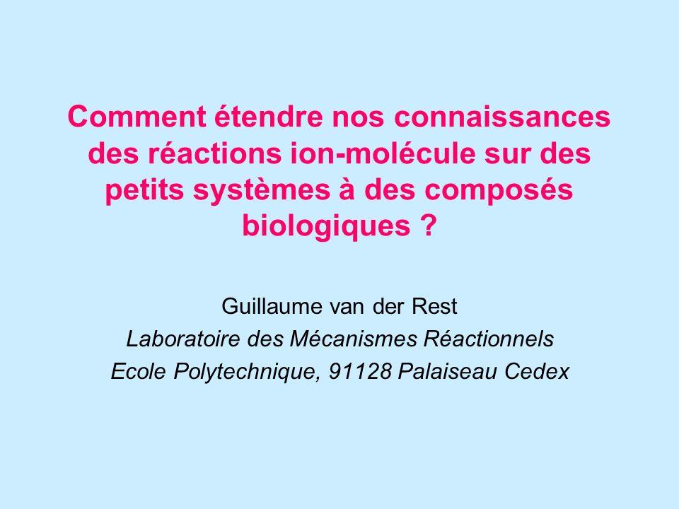 Plan de lexposé : 1.Introduction: les propriétés qui changent 1.Fonctionnalisation 2.Durée de vie des complexes 3.Méthodes dionisation 2.Réactions de transfert de proton 1.Systèmes peptidiques monochargés 2.Systèmes multichargés: peptides et protéines 3.Réactions déchange hydrogène – deutérium 1.Etude structurale en phase gazeuse 2.Mécanismes mis en jeu 4.Autres réactions 1.Ion simple – molécule neutre biologique 2.Ion peptide ou oligonucléotide – molécule neutre 5.Perspectives et avenir