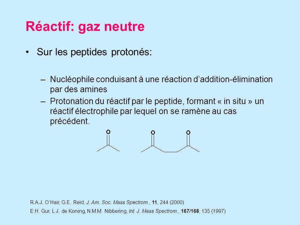 Réactif: gaz neutre Sur les peptides protonés: –Nucléophile conduisant à une réaction daddition-élimination par des amines –Protonation du réactif par le peptide, formant « in situ » un réactif électrophile par lequel on se ramène au cas précédent.