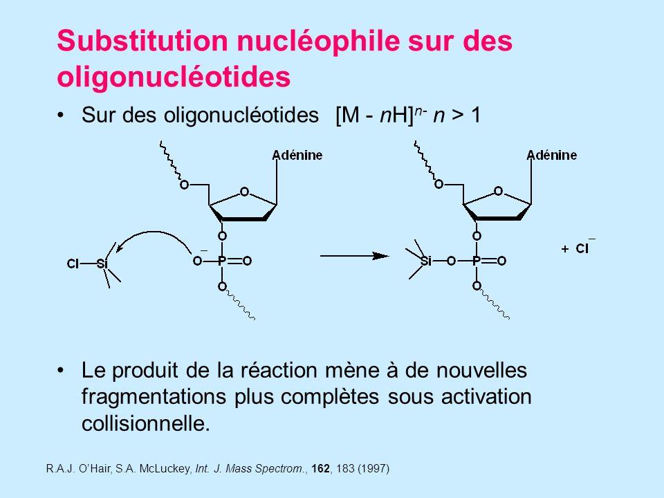 Substitution nucléophile sur des oligonucléotides Sur des oligonucléotides [M - nH] n- n > 1 Le produit de la réaction mène à de nouvelles fragmentations plus complètes sous activation collisionnelle.