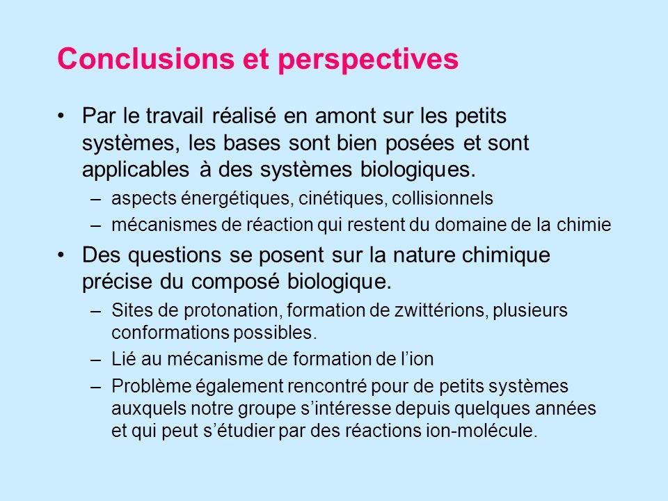 Conclusions et perspectives Par le travail réalisé en amont sur les petits systèmes, les bases sont bien posées et sont applicables à des systèmes biologiques.