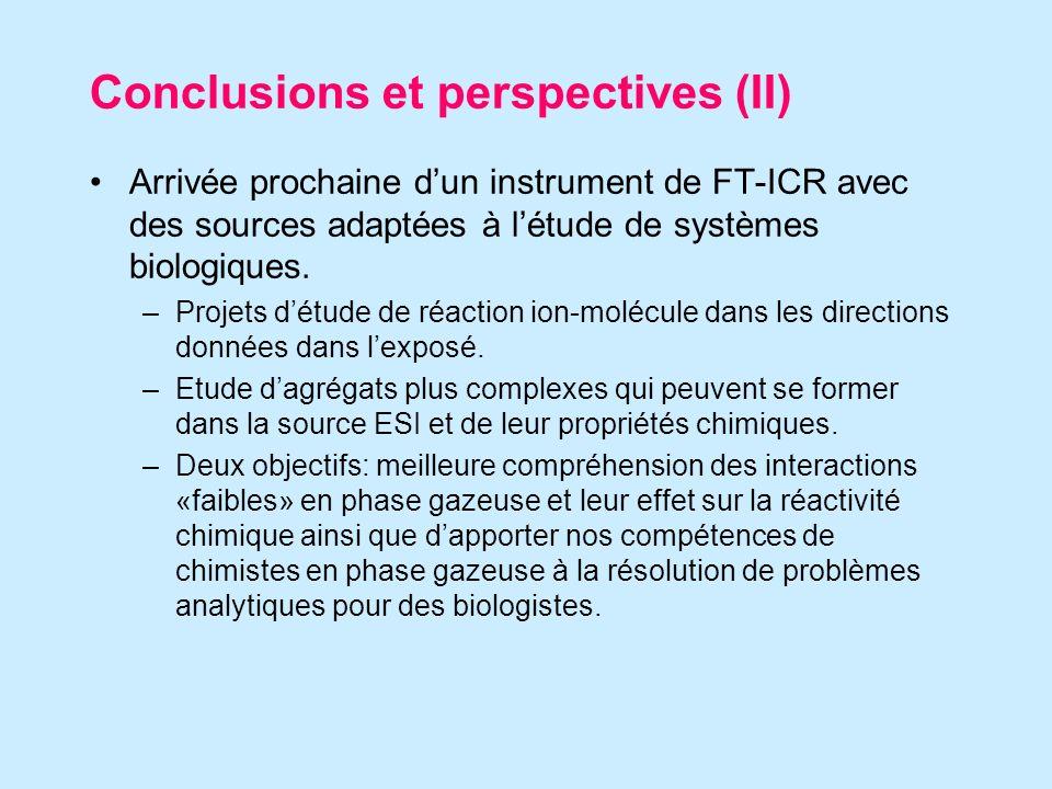 Conclusions et perspectives (II) Arrivée prochaine dun instrument de FT-ICR avec des sources adaptées à létude de systèmes biologiques.
