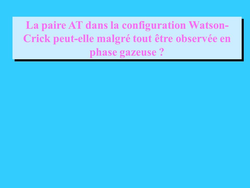 La paire AT dans la configuration Watson- Crick peut-elle malgré tout être observée en phase gazeuse ?