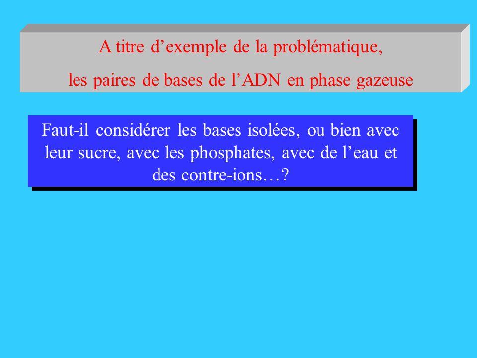 A titre dexemple de la problématique, les paires de bases de lADN en phase gazeuse Faut-il considérer les bases isolées, ou bien avec leur sucre, avec les phosphates, avec de leau et des contre-ions…