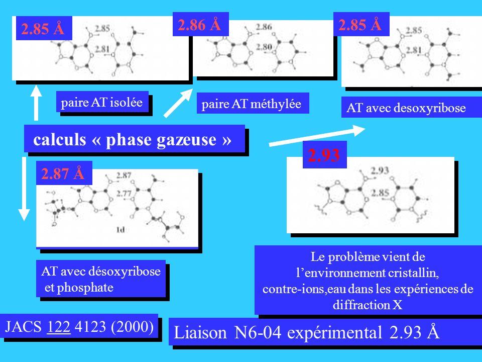 JACS 122 4123 (2000) Liaison N6-04 expérimental 2.93 Å paire AT isolée calculs « phase gazeuse » 2.85 Å paire AT méthylée 2.86 Å 2.85 AT avec desoxyribose 2.85 Å AT avec désoxyribose et phosphate AT avec désoxyribose et phosphate 2.87 Å Le problème vient de lenvironnement cristallin, contre-ions,eau dans les expériences de diffraction X Le problème vient de lenvironnement cristallin, contre-ions,eau dans les expériences de diffraction X 2.93
