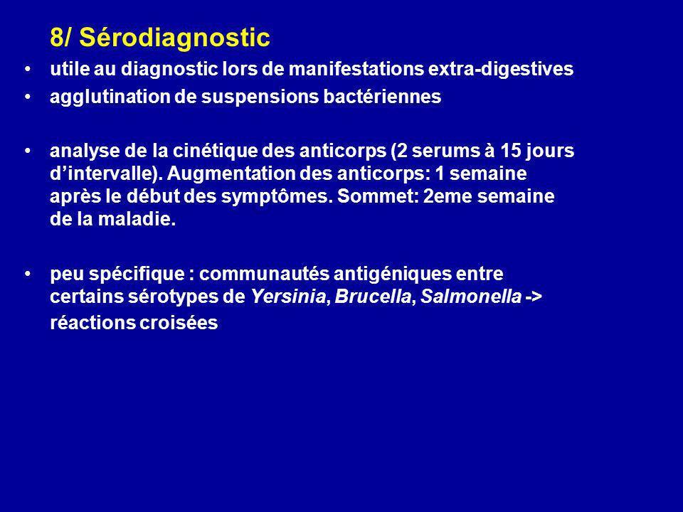 8/ Sérodiagnostic utile au diagnostic lors de manifestations extra-digestives agglutination de suspensions bactériennes analyse de la cinétique des an