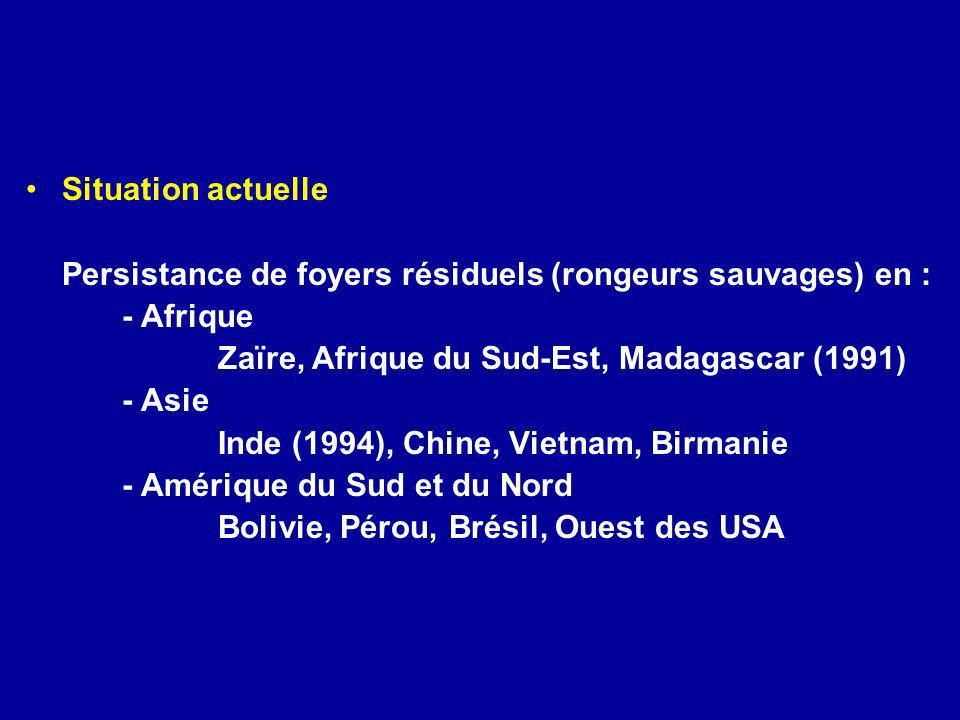 Situation actuelle Persistance de foyers résiduels (rongeurs sauvages) en : - Afrique Zaïre, Afrique du Sud-Est, Madagascar (1991) - Asie Inde (1994),