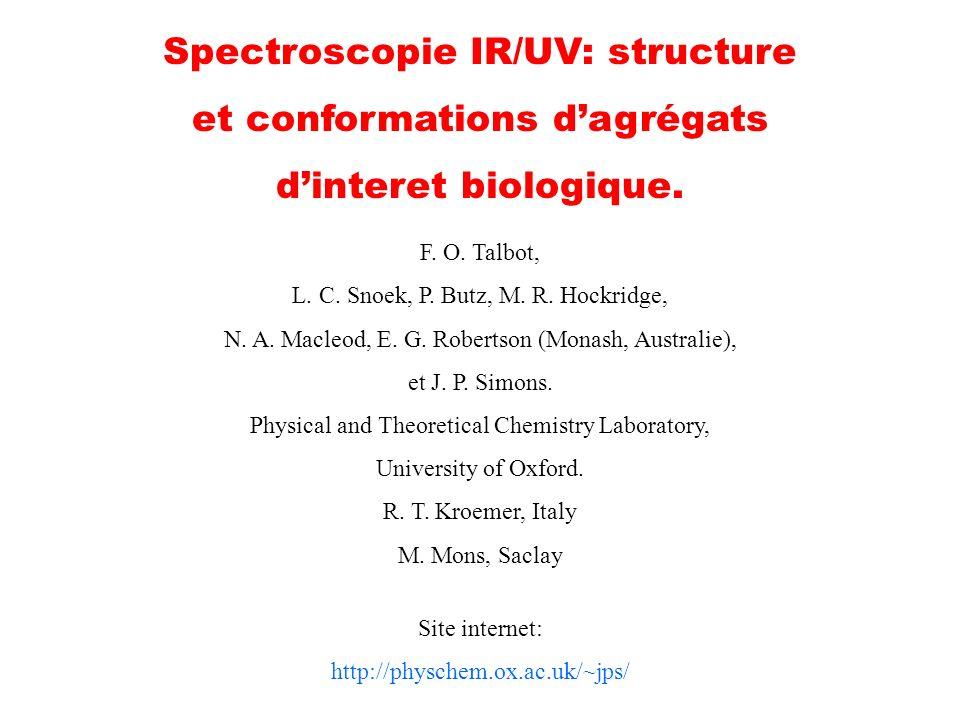 Spectroscopie IR/UV: structure et conformations dagrégats dinteret biologique. F. O. Talbot, L. C. Snoek, P. Butz, M. R. Hockridge, N. A. Macleod, E.