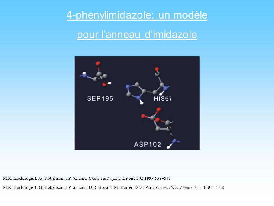 4-phenylimidazole: un modèle pour lanneau dimidazole M.R. Hockridge, E.G. Robertson, J.P. Simons, Chemical Physics Letters 302 1999 538–548 M.R. Hockr
