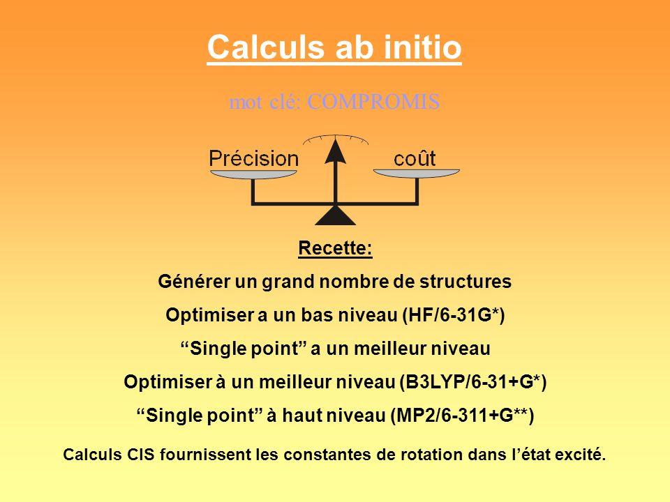 Calculs ab initio mot clé: COMPROMIS Recette: Générer un grand nombre de structures Optimiser a un bas niveau (HF/6-31G*) Single point a un meilleur n