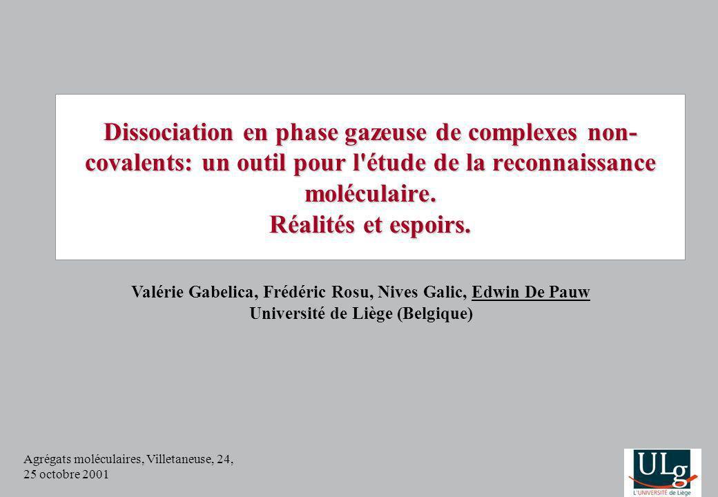 Agrégats moléculaires, Villetaneuse, 24, 25 octobre 2001 Dissociation en phase gazeuse de complexes non- covalents: un outil pour l'étude de la reconn