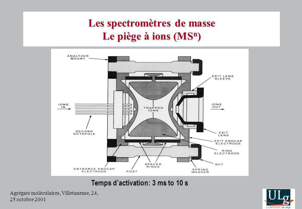 Agrégats moléculaires, Villetaneuse, 24, 25 octobre 2001 Temps dactivation: 3 ms to 10 s Les spectromètres de masse Le piège à ions (MS n )