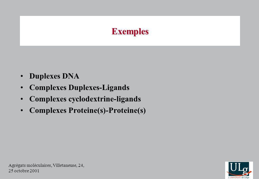 Agrégats moléculaires, Villetaneuse, 24, 25 octobre 2001 Exemples Duplexes DNA Complexes Duplexes-Ligands Complexes cyclodextrine-ligands Complexes Pr
