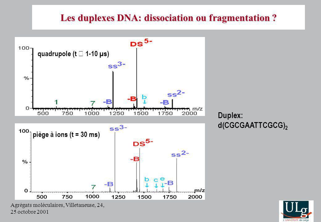 Agrégats moléculaires, Villetaneuse, 24, 25 octobre 2001 quadrupole (t 1-10 µs) piège à ions (t = 30 ms) Duplex: d(CGCGAATTCGCG) 2 Les duplexes DNA: dissociation ou fragmentation