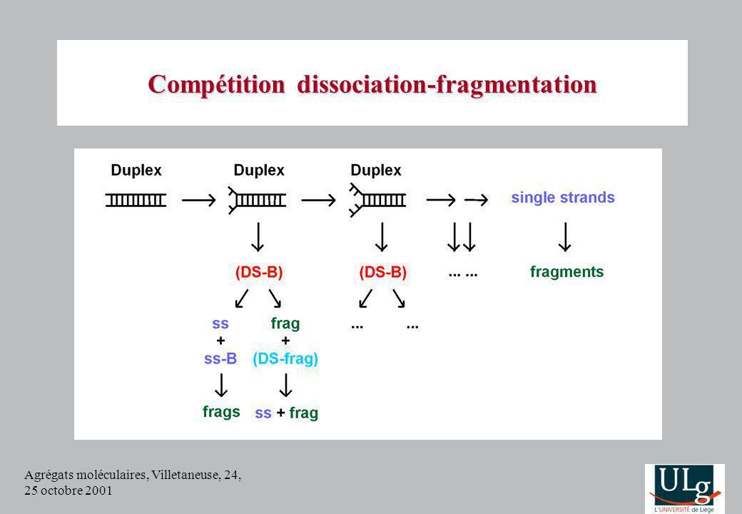 Agrégats moléculaires, Villetaneuse, 24, 25 octobre 2001 Compétition dissociation-fragmentation