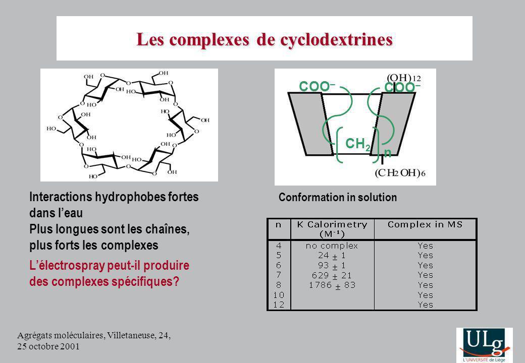 Agrégats moléculaires, Villetaneuse, 24, 25 octobre 2001 Interactions hydrophobes fortes dans leau Plus longues sont les chaînes, plus forts les compl