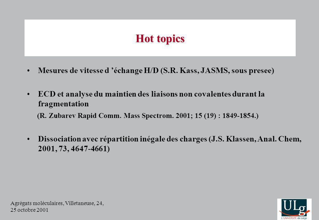 Agrégats moléculaires, Villetaneuse, 24, 25 octobre 2001 Hot topics Mesures de vitesse d échange H/D (S.R. Kass, JASMS, sous presee) ECD et analyse du