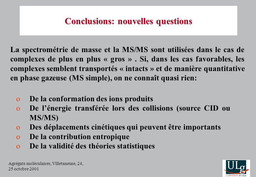 Agrégats moléculaires, Villetaneuse, 24, 25 octobre 2001 oDe la conformation des ions produits oDe lénergie transférée lors des collisions (source CID