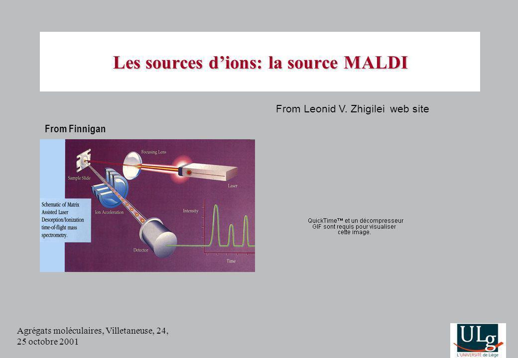 Agrégats moléculaires, Villetaneuse, 24, 25 octobre 2001 Les sources dions: la source MALDI From Leonid V. Zhigilei web site From Finnigan
