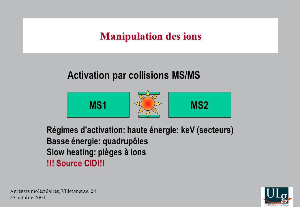 Agrégats moléculaires, Villetaneuse, 24, 25 octobre 2001 Manipulation des ions Activation par collisions MS/MS MS2MS1 Régimes dactivation: haute énerg