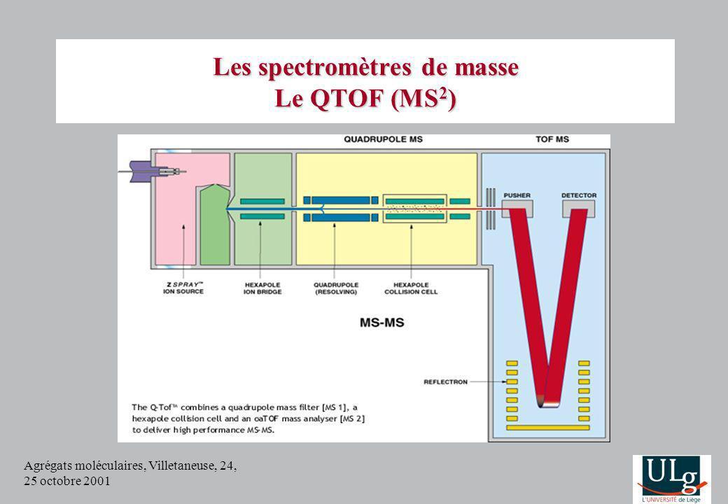 Agrégats moléculaires, Villetaneuse, 24, 25 octobre 2001 Les spectromètres de masse Le QTOF (MS 2 )