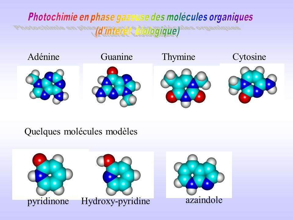 Les molécules Dérivés aromatiques : molécules qui absorbent dans le proche UV *Pas de photons UV lointain sur terre *domaine des lasers Acides aminés