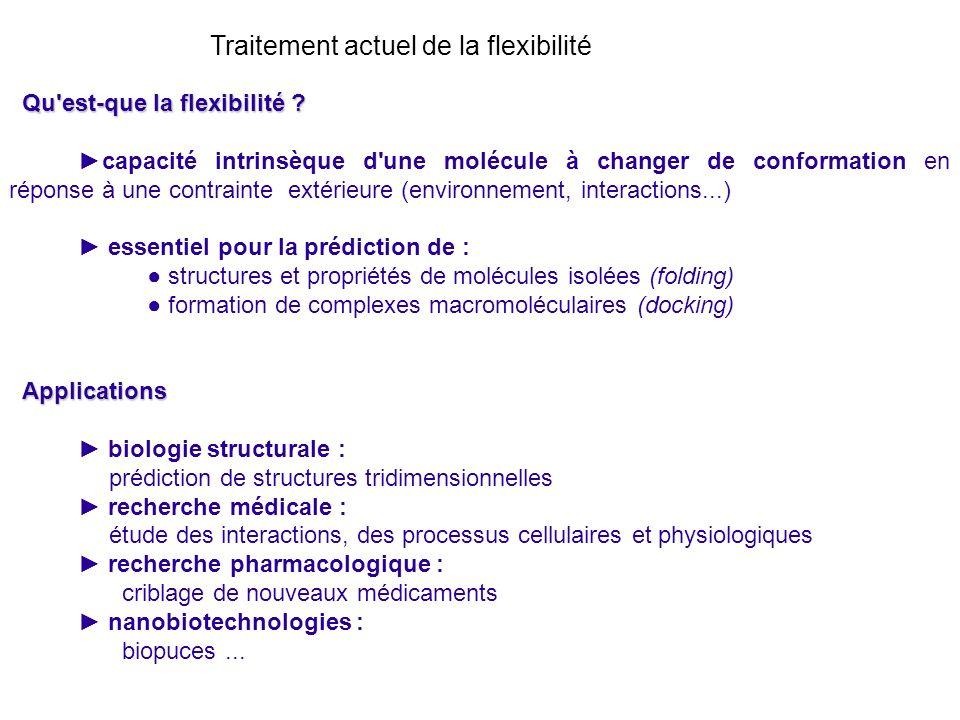 Qu'est-que la flexibilité ? capacité intrinsèque d'une molécule à changer de conformation en réponse à une contrainte extérieure (environnement, inter
