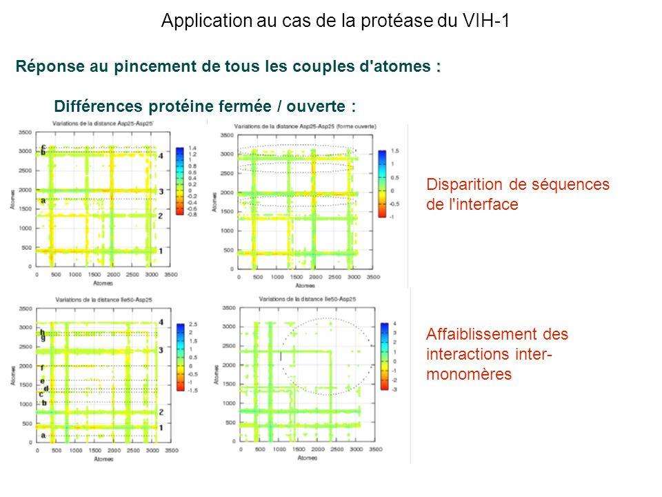 : Réponse au pincement de tous les couples d'atomes : Différences protéine fermée / ouverte : Disparition de séquences de l'interface Affaiblissement