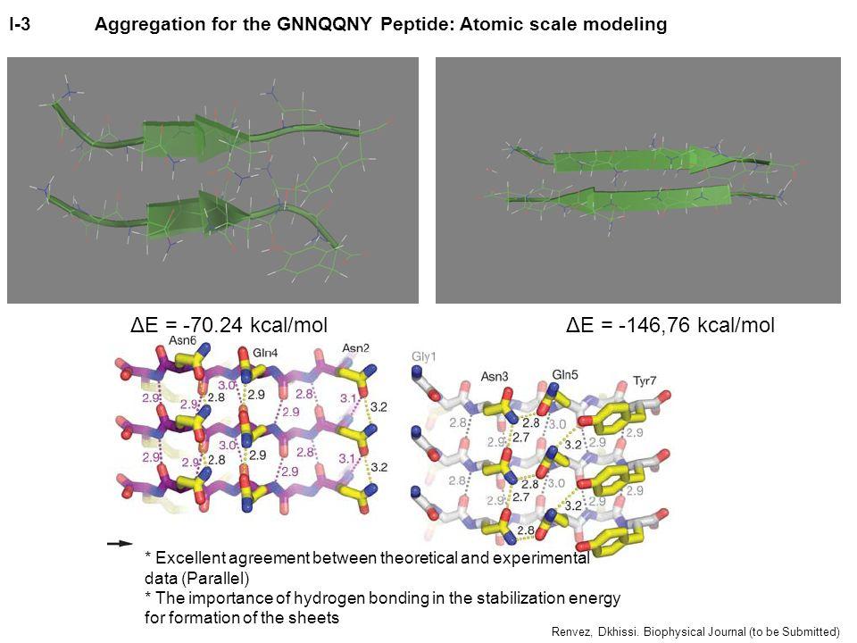 ΔE = -146,76 kcal/molΔE = -70.24 kcal/mol * Excellent agreement between theoretical and experimental data (Parallel) * The importance of hydrogen bond