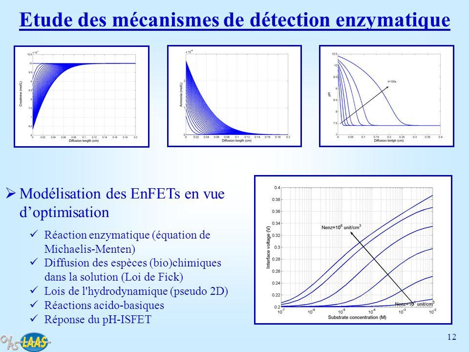 12 Etude des mécanismes de détection enzymatique Modélisation des EnFETs en vue doptimisation Réaction enzymatique (équation de Michaelis-Menten) Diff