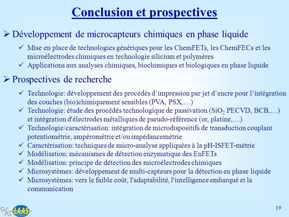19 Conclusion et prospectives Développement de microcapteurs chimiques en phase liquide Mise en place de technologies génériques pour les ChemFETs, le