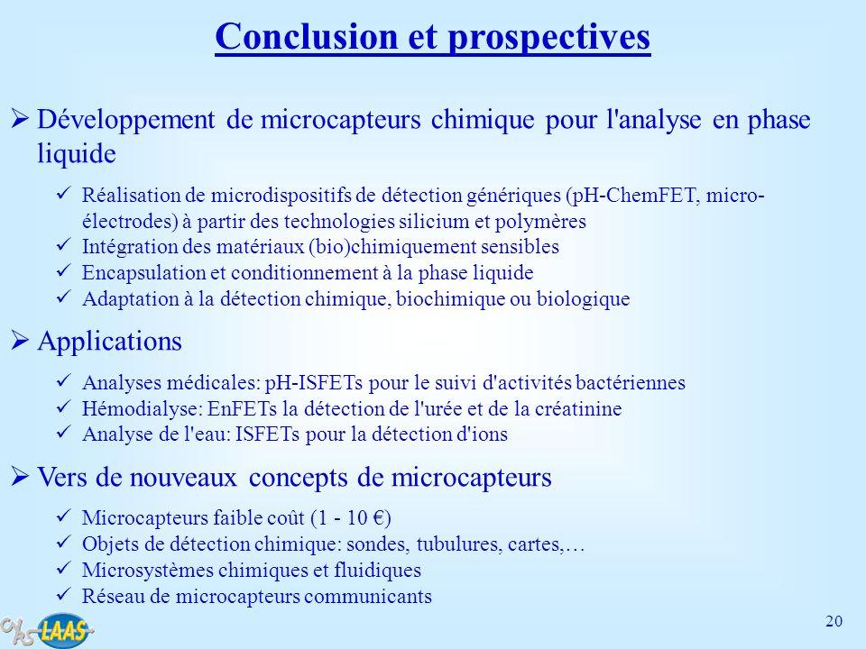 20 Conclusion et prospectives Développement de microcapteurs chimique pour l'analyse en phase liquide Réalisation de microdispositifs de détection gén