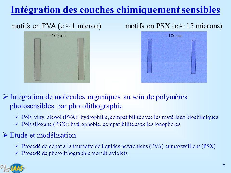 8 Détection d activités bactériennes Suivi de milieux bactériens à l aide de pH-ISFETs Intéret: la diminution du volume d analyse V est responsable de l augmentation de la cinétique bactérienne dpH/dt: dpH/dt a/V où a est l activité bactérienne Fabrication collective de microcuves en PDMS ( 1 mm 3 ) en technologies polymères Intégration sur puce pH-ISFET, connexion (électrique et fluidique) et assemblage Etude de la bactérie non pathogène lactobacillus acidophilus Métabolisme principal: consommation de sucres spécifiques, fabrication d acide lactique et diminution du pH du milieu bactérien (valeur limite: pH 4) Test de sucres caractérisés par différents métabolismes: glucose (+) and sorbitol (-) 020406080100120140800850900950 0,94 0,95 0,96 0,97 0,98 0,99 1,00 Vg/Vg0 temps (min) Test sorbitol Test glucose