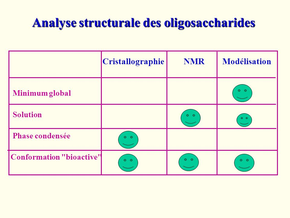 Cristallographie NMR Modélisation Minimum global Solution Phase condensée Conformation