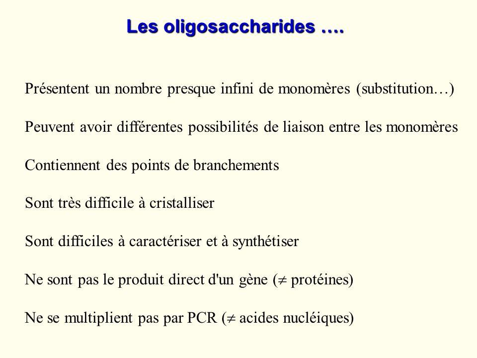 Les oligosaccharides …. Présentent un nombre presque infini de monomères (substitution…) Peuvent avoir différentes possibilités de liaison entre les m