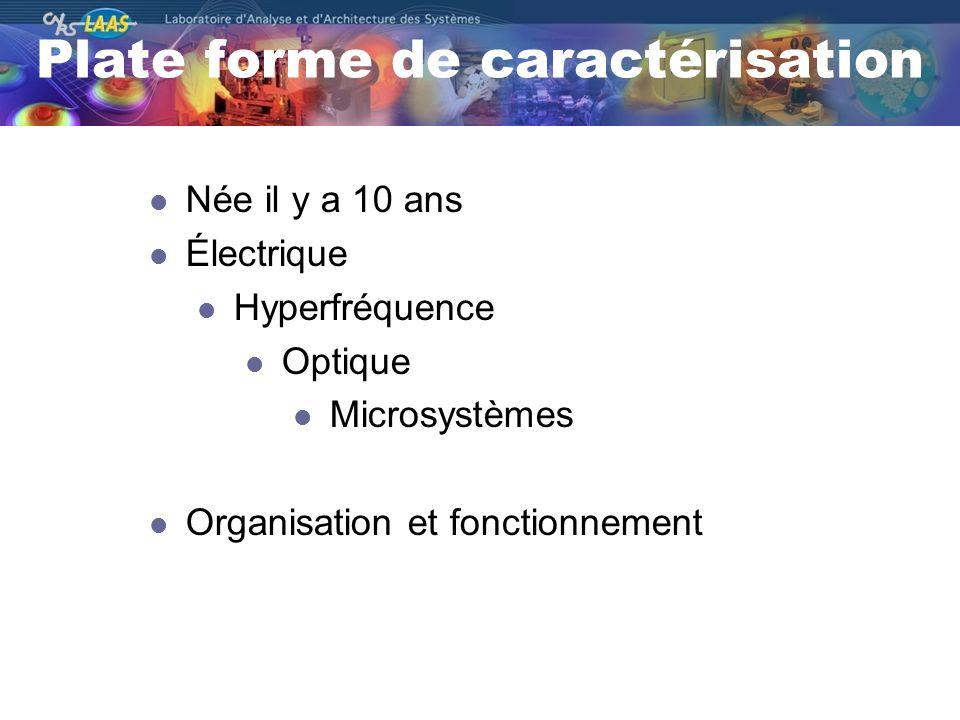 Plate forme de caractérisation Née il y a 10 ans Électrique Hyperfréquence Optique Microsystèmes Organisation et fonctionnement