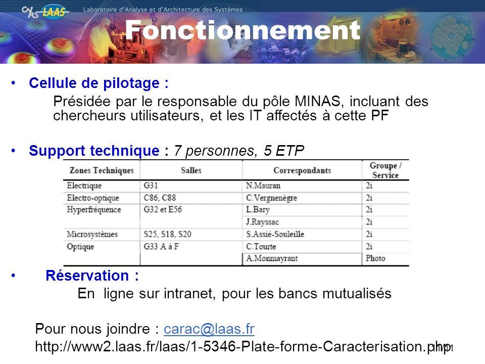 Fonctionnement 11/11 Cellule de pilotage : Présidée par le responsable du pôle MINAS, incluant des chercheurs utilisateurs, et les IT affectés à cette