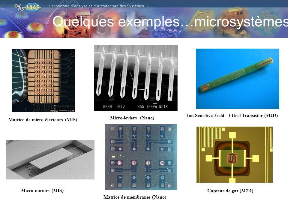Quelques exemples…microsystèmes Matrice de micro-éjecteurs (MIS) Micro-leviers (Nano) Ion Sensitive Field Effect Transistor (M2D) Micro-miroirs (MIS) Matrice de membranes (Nano) Capteur de gaz (M2D)