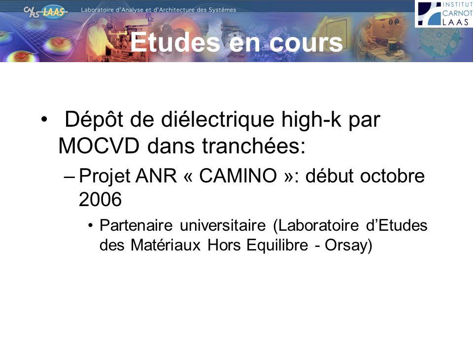 Etudes en cours Dépôt de diélectrique high-k par MOCVD dans tranchées: –Projet ANR « CAMINO »: début octobre 2006 Partenaire universitaire (Laboratoir