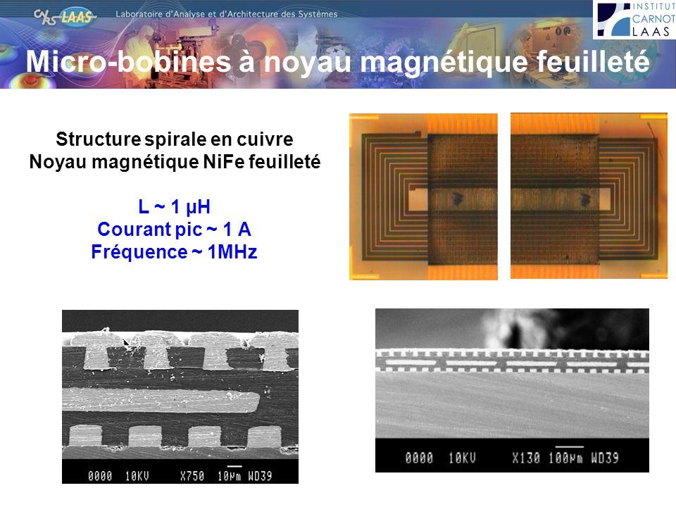Micro-bobines à noyau magnétique feuilleté Structure spirale en cuivre Noyau magnétique NiFe feuilleté L ~ 1 µH Courant pic ~ 1 A Fréquence ~ 1MHz