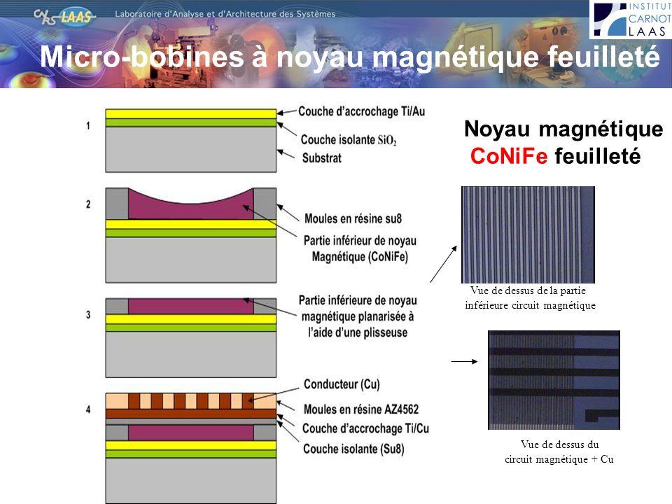 Vue de dessus de la partie inférieure circuit magnétique Vue de dessus du circuit magnétique + Cu Micro-bobines à noyau magnétique feuilleté Noyau mag